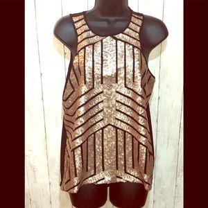 3/$30 Dina Be Sequin & Sheer back top L
